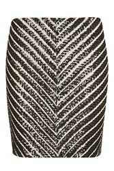 Topshop Back Stage Black Striped Sequin Mini Skirt By Wydlr Black