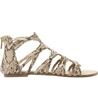 Steve Madden Cretee Braided Gladiator Ankle Sandals Natural Reptile Syntheti