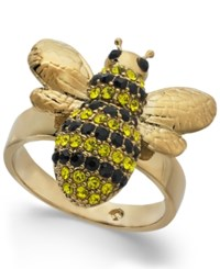 Kate Spade New York 14K Gold Plated Crystal Bee Ring Multi