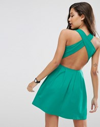 Asos Mini Skater Dress With Cross Back Green