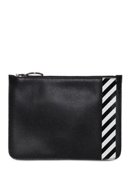 Off White Diag Printed Pouch Black