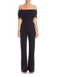 Nightcap Clothing Postiano Off The Shoulder Lace Jumpsuit Black