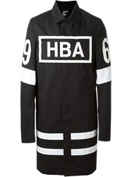 Hood By Air Stripe And Logo Print Oversize Trench Coat Black