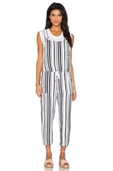 Stateside Vertical Navy Stripe Veil Sleeveless Tied Waist Jumpsuit White