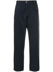 Ymc Tapered Textured Trousers Blue