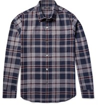 Theory Rammis Slim Fit Checked Cotton Shirt Navy