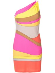 Trina Turk Striped One Shoulder Dress Women Polyester Spandex Elastane S