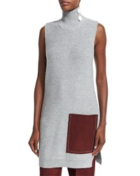 Edun Sleeveless Ribbed Tunic W Contrast Pocket Light Gray Light Tgrey