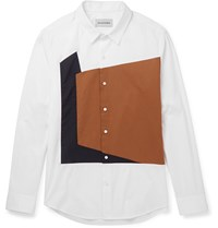 Solid Homme Slim Fit Panelled Cotton Blend Poplin Shirt White