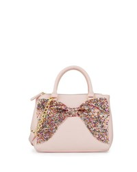 Betsey Johnson Fancy Bow Sequined Satchel Bag Blush