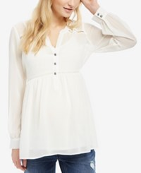 Motherhood Maternity Button Front Babydoll Blouse Egret