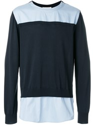 Cedric Charlier Colour Block Sweatshirt Blue