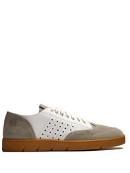 Loewe Low Top Leather And Suede Trainers Grey White