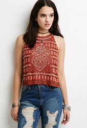 Forever 21 Beaded Geo Embroidered Halter Top Rust Gold
