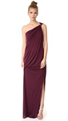 Halston Heritage One Shoulder Draped Jersey Gown With Slit Blackberry