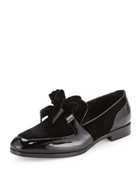 Jimmy Choo Fred Men's Formal Patent Leather Shoe With Velvet Black