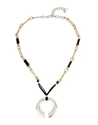 Robert Lee Morris Two Tone Geometric Pendant Necklace Mixed Metal