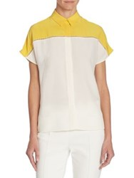 Akris Punto Colorblock Silk Blouse Yellow Cream Navy Cream