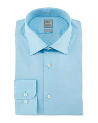 Ike Behar Solid Chambray Woven Dress Shirt Aqua Blue