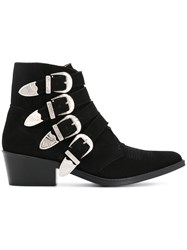 Toga Pulla Multi Strap Cowboy Boots Leather Calf Suede Black