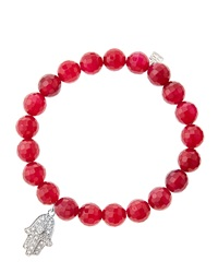 Sydney Evan 8Mm Faceted Red Agate Beaded Bracelet With 14K White Gold Diamond Medium Hamsa Charm Made To Order