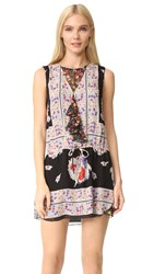 Anna Sui Bouquet Scarf Print Dress Black Multi