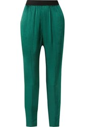 By Malene Birger Ietos Tapered Satin Pants Green
