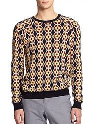 Melindagloss Printed Jacquard Crewneck Sweater Navy