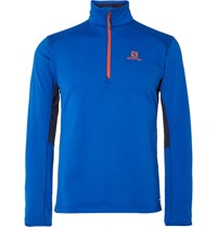 Salomon Alomon Dicovery Active Fleece Back Tretch Jerey Half Zip Mid Layer Top Blue