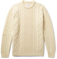 Norse Projects Arild Slim Fit Cable Knit Wool Sweater Off White