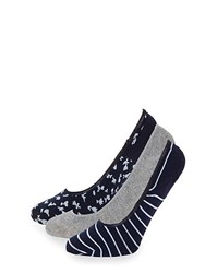 Juicy Couture Three Pack Classic No Show Socks Navy