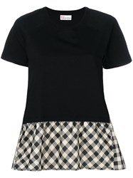Red Valentino Checked Flared T Shirt Black