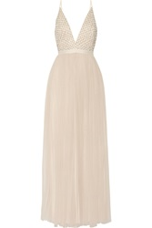 Needle And Thread Embellished Chiffon And Tulle Maxi Dress