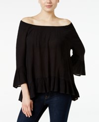 Styleandco. Style Co. Ruffle Hem Peasant Top Only At Macy's Deep Black