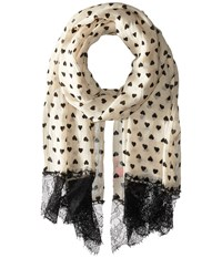 Betsey Johnson Reckless Heart Day Wrap Ivory Scarves White