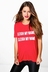 Boohoo Petite Imogen Novelty Christmas Slogan Tee Red