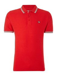 Fila Matcho Regular Fit Short Sleeve Tipped Logo Polo Red
