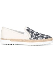 Tod's Beaded Slippers White