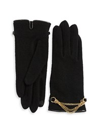Portolano Chain Accented Wool Blend Gloves Black