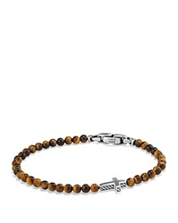 David Yurman Spiritual Beads Cross Bracelet With Tiger's Eye In Sterling Silver Brown Silver