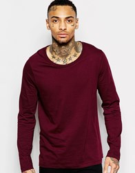 Asos Long Sleeve T Shirt With Scoop Neck In Red Red