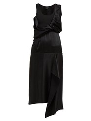 Atlein Draped Bodice Satin Dress Black