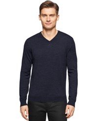 Calvin Klein Big And Tall Merino V Neck Sweater Deep Marine Heather