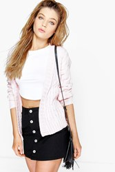 Boohoo Cable Knit Edge To Edge Boyfriend Cardigan Rose