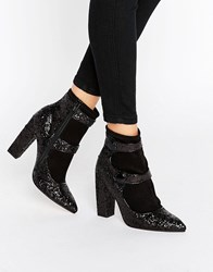 Asos Elysia Glitter Pointed Ankle Boots Black Glitter