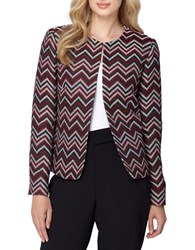 Tahari By Arthur S. Levine Chevron Print Blazer Red Black