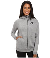 Nike Rally Full Zip Hoodie Carbon Heather Dark Grey Black Women's Clothing Gray
