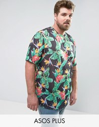 Asos Plus Longline T Shirt In Linen Look Fabric With Digital Floral Print Black