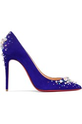 Christian Louboutin Candidate 100 Embellished Suede Pumps Purple