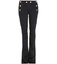 Balmain Distressed Flared Jeans Black